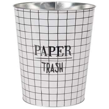 TRASH Checked Metal Wastepaper Basket (H26 x W23 x D23cm)