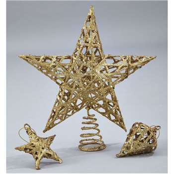 Tree Topper Set Gold 7Pc Set (Height 25cm)