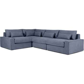 Trent Loose Cover Corner Sofa, Washed Blue Cotton (H81 x W306 x D216cm)