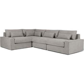 Trent Loose Cover Corner Sofa, Washed Grey Cotton (H81 x W306 x D216cm)