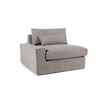 Trent Loose Cover Modular Left Hand Facing Sofa Arm, Washed Grey Cotton (H81 x W113 x D103cm)