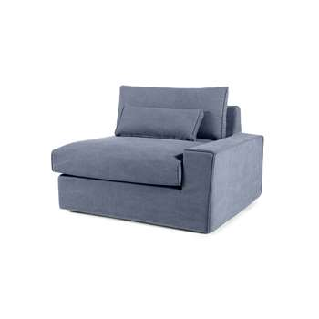 Trent Loose Cover Modular Right Hand Facing Sofa Arm, Washed Blue Cotton (H81 x W113 x D103cm)
