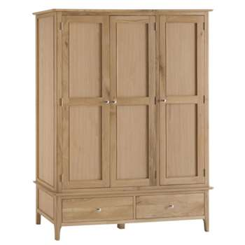 Trento Oak 3 Door 2 Drawer Wardrobe (H195 x W145 x D56cm)
