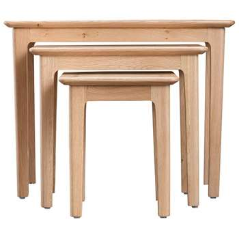Trento Oak Nest of 3 Tables (H50 x W65 x D38cm)