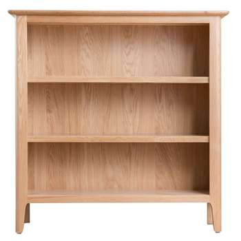 Trento Oak Small Wide Bookcase (H90 x W90 x D30cm)