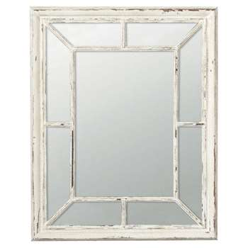 Trevarno Window Mirror - Distressed White (100 x 81cm)
