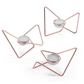 Black + Blum Tri-Angular Loop Tealight Holders - Copper