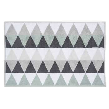TRIANGLE cotton bath mat in white / grey (50 x 80cm)