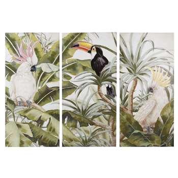 TRINIDAD - Canvas Triptych with Tropical Print (H190 x W270 x D3cm)