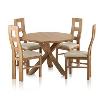 Trinity Natural Solid Oak Round Table with And 4 Wave Back and (H76 x W110 x D110cm)