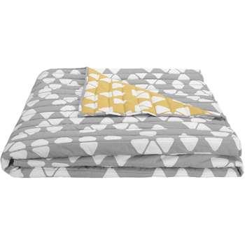 Trio Bedspread, Grey/ Mustard (200 x 200cm)