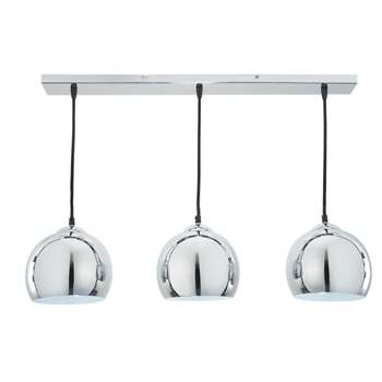 TRIO brushed aluminium triple pendant lamp D 70cm