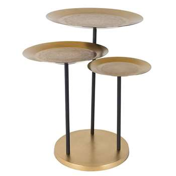 Trio Of Side Tables with Engraved Pattern (57 x 58.5cm)