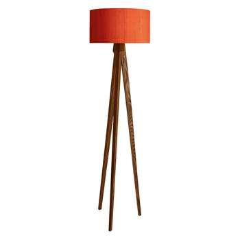 Tripod Tripod Walnut Floor Lamp With Drum Silk Shade Orange (H180 x W49 x D49cm)