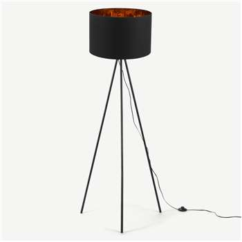 Tris Floor Lamp, Matt Black and Copper (152 x 61cm)