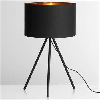 Tris Table Lamp, Matt Black and Copper (59 x 32cm)