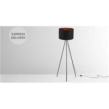 Tris Tripod Floor Lamp, Matt Black and Copper (H152 x W61 x D61cm)
