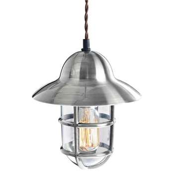 Tristan Industrial Chrome Pendant Light (H25 x W20 x D20cm)