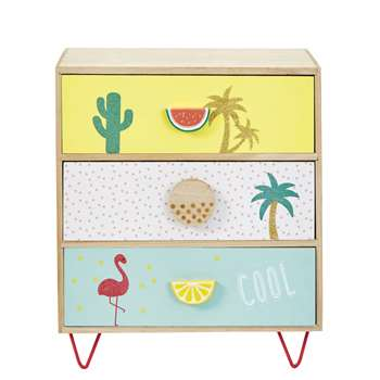 TROPICOOL Small 3-Drawer Storage Unit with Tropical Print (34 x 30cm)