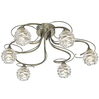 Trudy 6 Light Ceiling Light Antique Brass (H20 x W47 x D47cm)
