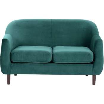 Tubby 2 Seater Sofa, Peacock Blue Velvet (73 x 125cm)