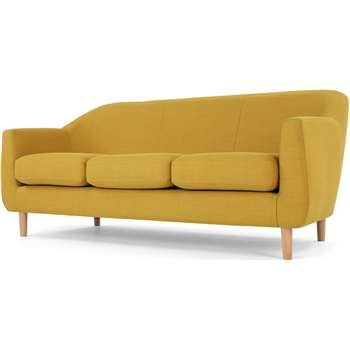Tubby 3 Seater Sofa, Retro Yellow (H73 x W170 x D76cm)