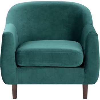 Tubby Armchair, Peacock Blue Velvet (73 x 80cm)