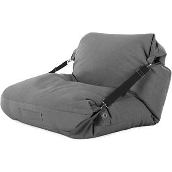 Tuck Bean Bag Floor Chair, Marl Grey with Contrast Black Strap (H15 x W100 x D140cm)