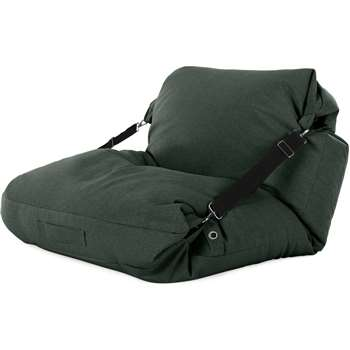 Tuck Bean Bag Floor Chair, Woodland Green with Contrast Black Strap (H15 x W100 x D140cm)
