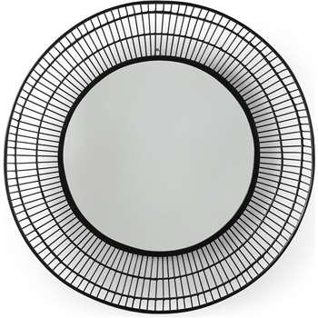 Tulsi Bamboo Round Wall Mirror, Black (Diameter 80cm)