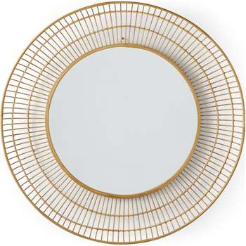 Tulsi Bamboo Round Wall Mirror, Natural (Diameter 80cm)