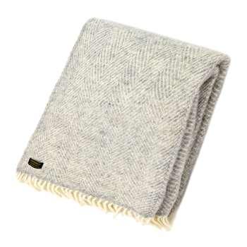 Tweedmill - Fishbone Wool Throw - Silver Grey (H150 x W183cm)