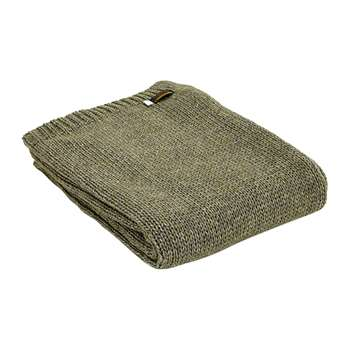 Tweedmill - Knitted Alpaca Throw - Green (H130 x W180cm)