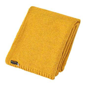 Tweedmill - Knitted Alpaca Throw - Mustard (H130 x W180cm)
