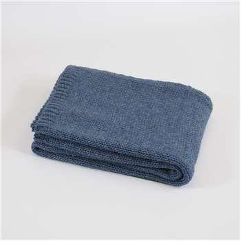 Tweedmill Knitted Throw in Blue Slate 130 x 180cm