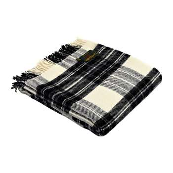 Tweedmill - Pure New Wool Tartan Throw - Grey Dress Stewart (H150 x W183cm)