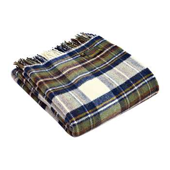 Tweedmill - Pure New Wool Tartan Throw - Muted Blue Dress Stewart (H150 x W183cm)