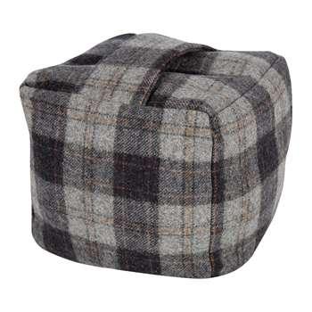 Tweedmill - Tweed Cube Door Stop - Navy/Silver Check (H17 x W17 x D17cm)