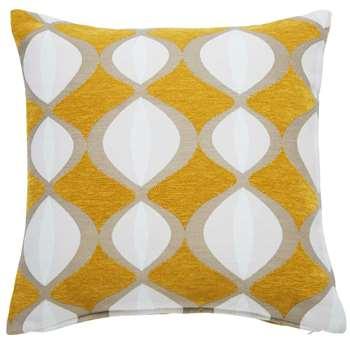 TWIGGY mustard yellow cushion with two-tone motifs (45 x 45cm)