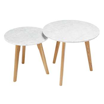 TWINS 2-piece marble and oak nest of tables (45 x 50cm)