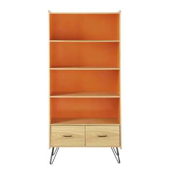 TWIST Wooden vintage bookcase in orange (180 x 85cm)