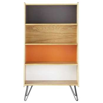 TWIST Wooden vintage bookcase, multicoloured (128 x 72cm)