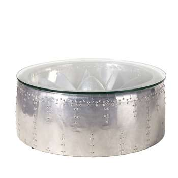 TYLER - Aluminium and Glass Round Industrial Coffee Table (H34 x W81 x D81cm)