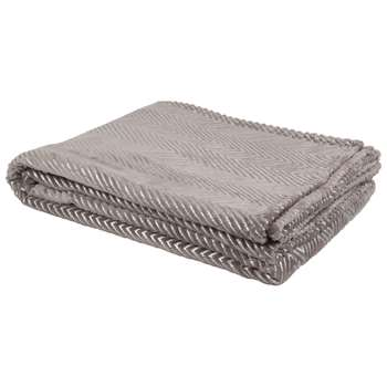 TYLER Taupe Throw with Beige Graphic Print (H150 x W200cm)