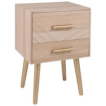 Ubud Matte Gold 2-Drawer Bedside Table (H51.5 x W35 x D30cm)