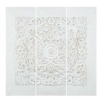 UDAIPUR polyresin triptych in white (90 x 90cm)
