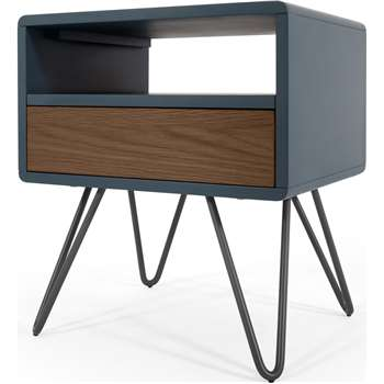 Ukan Bedside Table, Blue and Dark Stain Oak (H50 x W45 x D35cm)