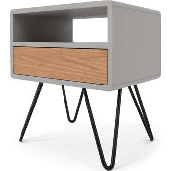 Ukan Bedside Table, Grey and Oak (H50 x W45 x D35cm)