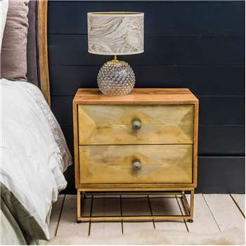 Umberto Brass Bedside Table (H55 x W55 x D35cm)