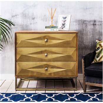 Umberto Brass Chest of Drawers (H90 x W95 x D50cm)